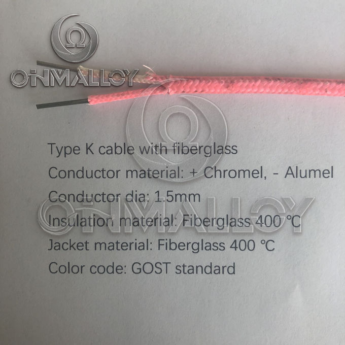 GOST Standard Type K Thermocouple Cable 1.5mm Fiberglass Insulation